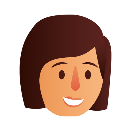 happy woman face character vector illustration design