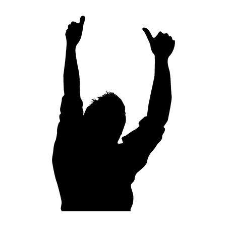 silhouette of person in concert vector illustration design