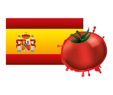 spain flag with tomato crashed vector illustration design