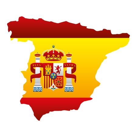 スペインマップとフラグエンブレムベクトルイラストデザイン  イラスト・ベクター素材