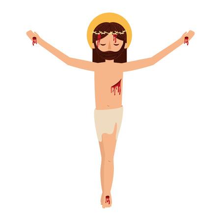 Gesù Cristo con progettazione dell'illustrazione di vettore della corona delle spine Archivio Fotografico - 99014486