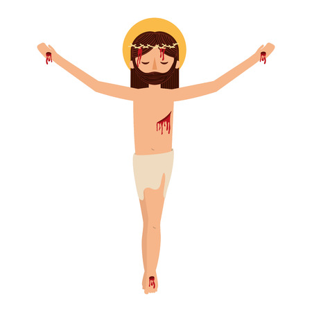 jesus christ with crown of thorns vector illustration design