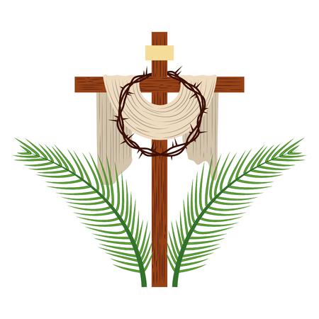 Croce con corona di spine illustrazione vettoriale design Vettoriali