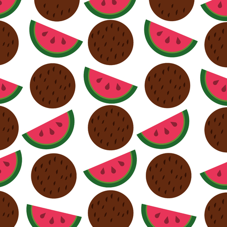 watermelon and coconut fruits pattern vector illustration design Stock Illustratie