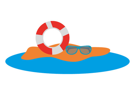 beach with float and sunglasses vector illustration design Illustration