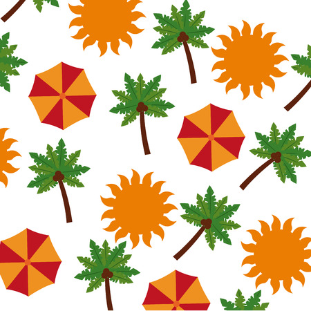 tropical palm with umbrella and sun pattern vector illustration design