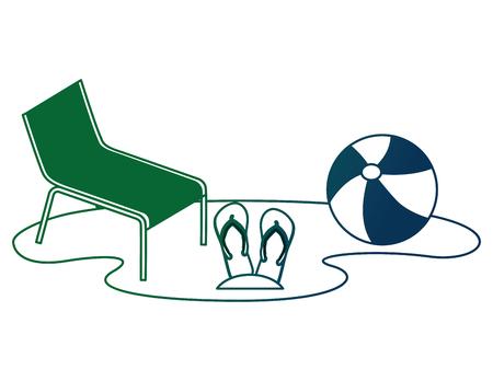 beach ball with flip flops and chair vector illustration design Ilustração