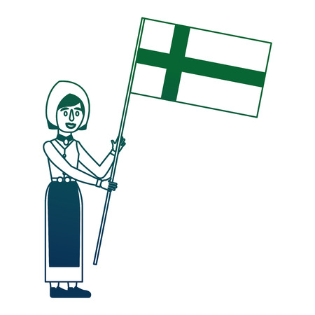 Swedish woman with flag character icon vector illustration design 向量圖像