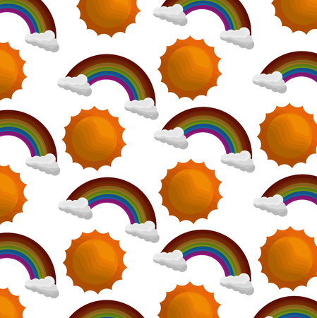 clouds weather with sun and rainbow pattern vector illustration design
