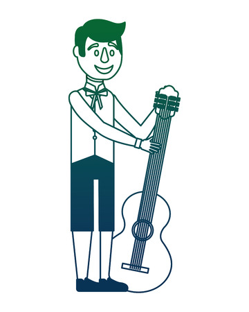 Swedish man with guitar vector illustration design