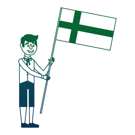 Swedish man with flag vector illustration design