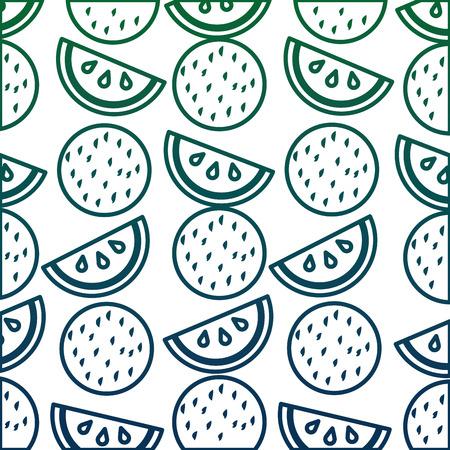 スイカとココナッツフルーツパターンベクターイラストデザイン