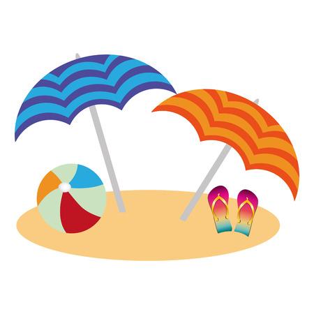 beach with umbrellas and flip flops vector illustration design