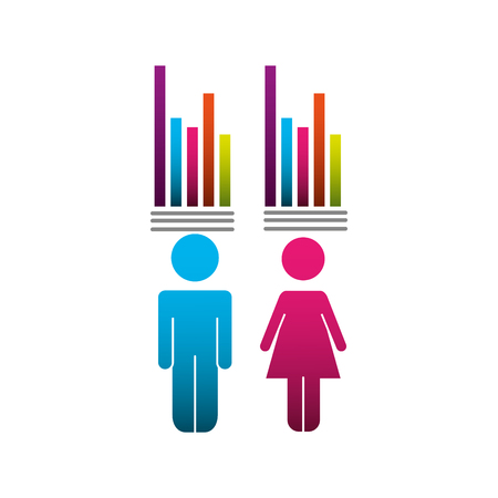 couple pictogram with bars statistics vector illustration design