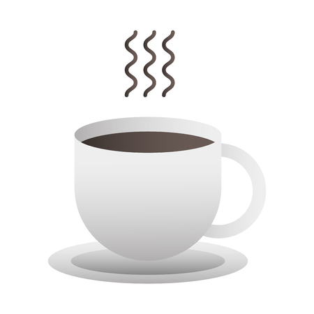 hot coffee cup on dish vector illustration design