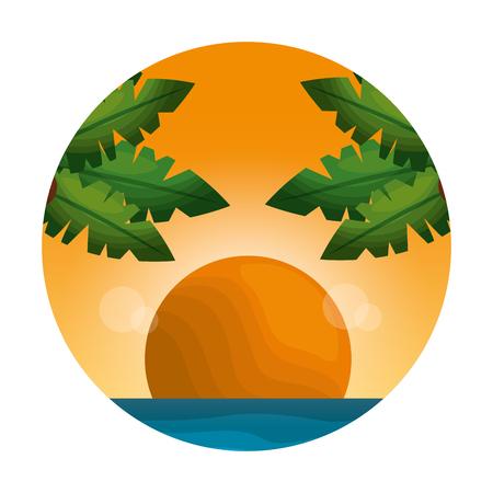 tropical seascape day scene vector illustration design