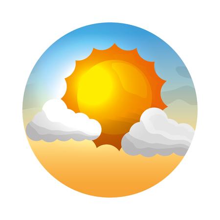 太陽の海景ベクトルイラストデザインと雲の天候の気候