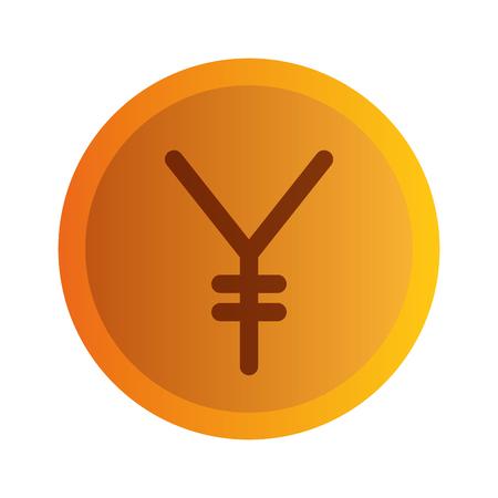 엔 동전 절연 아이콘 벡터 일러스트 디자인