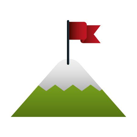mountain with flag on top vector illustration design Illustration