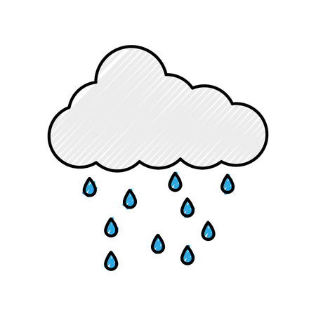 cloud weather climate with rain drops vector illustration design