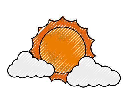 太陽ベクトルイラストデザインの雲気象気候  イラスト・ベクター素材
