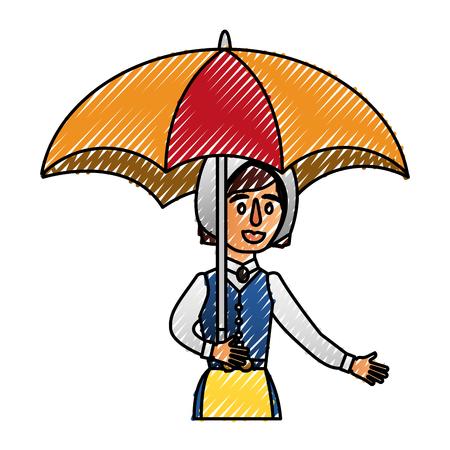 傘ベクトルイラストデザインのスウェーデンの女性