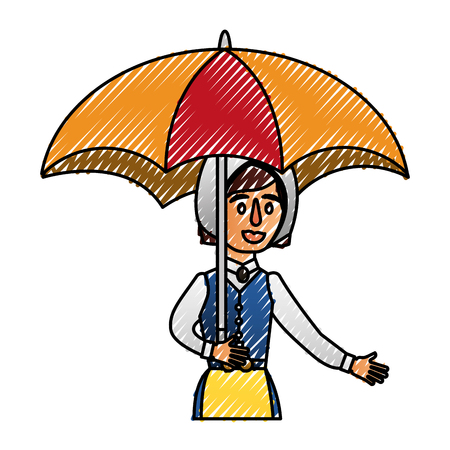 swedish woman with umbrella vector illustration design