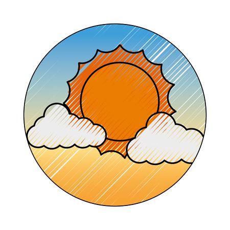 太陽ベクトルイラストデザインと雲の気象気候