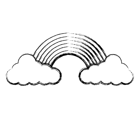 cloud weather climate with rainbow vector illustration design