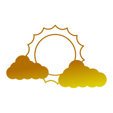cloud weather climate with sun vector illustration design