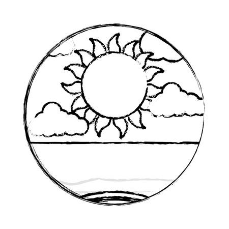 太陽の海景ベクトルイラストデザインと雲の気象気候