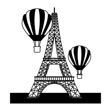 eiffel tower with balloons air hot flying vector illustration design Ilustração