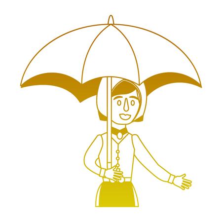 swedish woman with umbrella vector illustration design