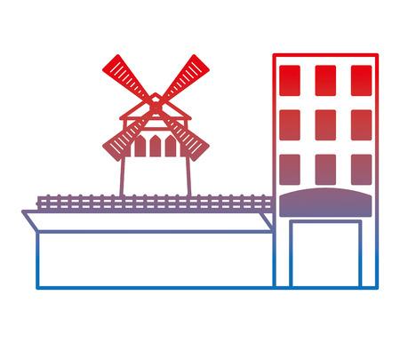 windmill scene with building vector illustration design