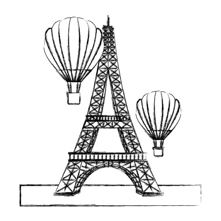 eiffel tower with balloons air hot flying vector illustration design  イラスト・ベクター素材