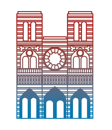 notre dame cathedral building vector illustration design