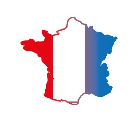 フラグベクトルイラストデザインでフランスをマップ