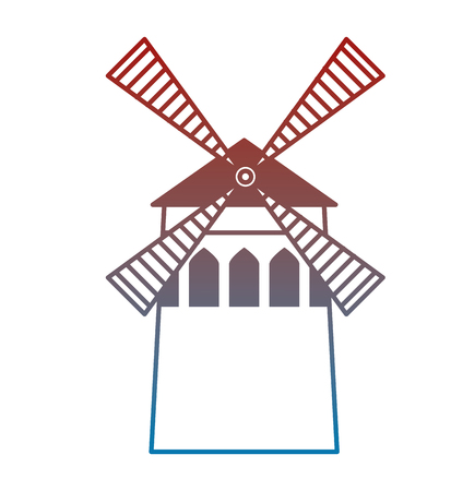 windmill scene isolated icon vector illustration design