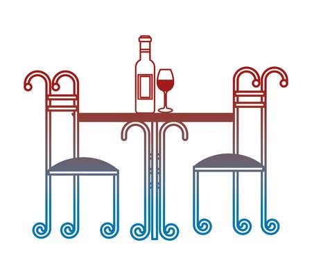 Table de fer forgé avec bouteille de vin et coupe illustration vectorielle design Banque d'images - 99015953