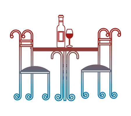 wrought iron table with wine bottle and cup vector illustration design