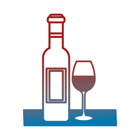 컵 벡터 일러스트 레이 션 디자인으로 프랑스 와인 병 일러스트