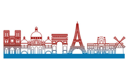 paris city with eiffel tower scene vector illustration design