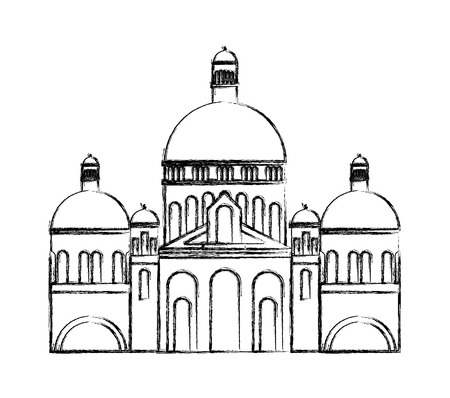 Sacre Coeur building facade vector illustration design Illustration
