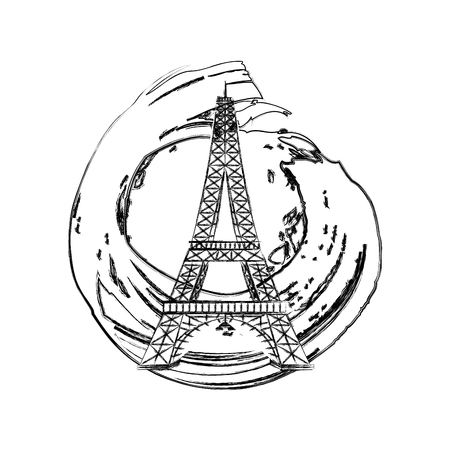 eiffel tower with water mark vector illustration design  イラスト・ベクター素材