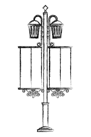 wrought iron lantern street vector illustration design Stock Illustratie