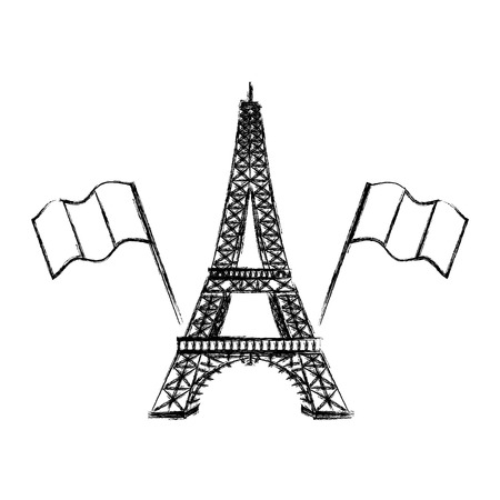 eiffel tower with france flags vector illustration design