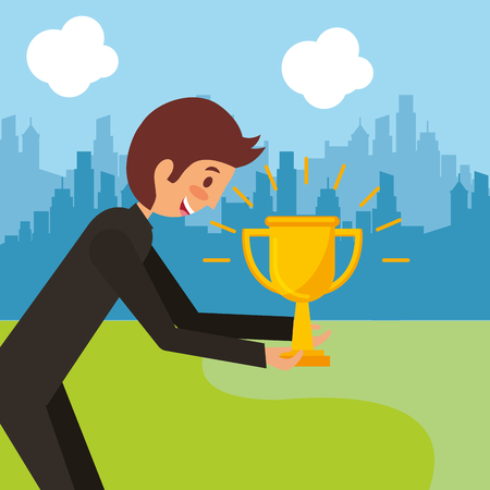 Businessman happy man holding shiny trophy success vector illustration.