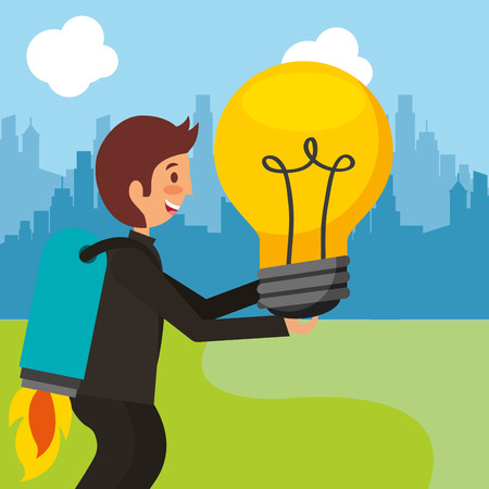 businessman with rocket in back holding bulb idea vector illustration Ilustração