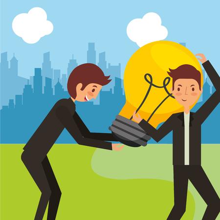 Businessmen carrying big bulb innovation creativity symbol vector illustration. Illustration