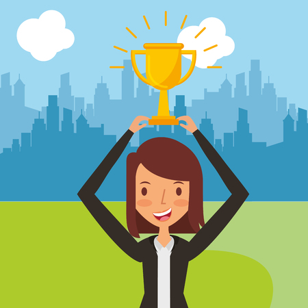 Business woman holding golden trophy winner cityscape vector illustration.